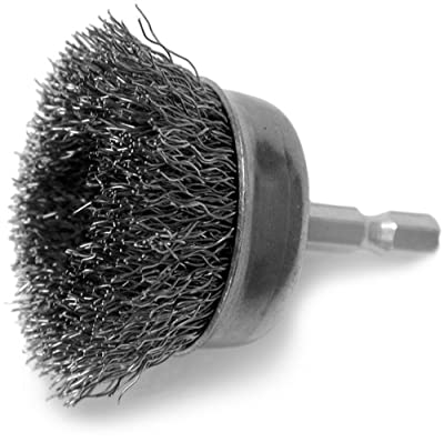Hot Max 26070 1-1/2-Inch Crimped Wire Mounted Cup Brush, Coarse, 1/4-Inch Hex Shank