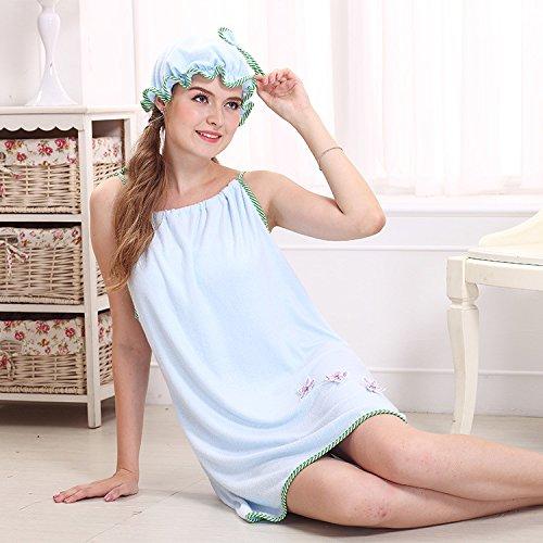 Bluelover Bx-R980 Absorbe Bain Confortable Microfibre Femmes Jupe Bain Serviette Peignoir avec Bouchon De Bain - Bleu Clair