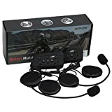 VNETPHONE Motorcycle V6 Intercom / Headset Compatible with Bluetooth Function 1200M Full Duplex Interphone Skiing Scooter Communication Waterproof Motorbike Helmet Headset Advanced Noise Control
