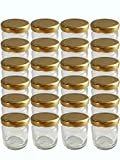 24er Set leere Rundgläser Sturzgläser Mini Gläser 53 ml Deckelfarbe Gold To 43