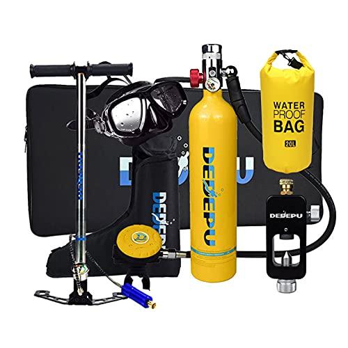 XSGDMN Botellas de Buceo Mini Cilindro de oxígeno de Buceo con Mochila Estanca, Kit de Equipos de Tanque de Buceo portátil de 1L, 25 Minutos de respiración subacuática, Equipo de Buceo,Amarillo