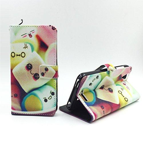 König Design Handyhülle Kompatibel mit Acer Liquid Z630 Handytasche Schutzhülle Tasche Flip Hülle mit Kreditkartenfächern - Marshmallows