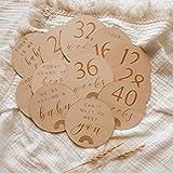 Unknown Rainbow - Juego de 14 tarjetas para embarazo, madera grabada para recién nacido, idea de regalo para baby shower – género neutral – madera – regalo embarazada