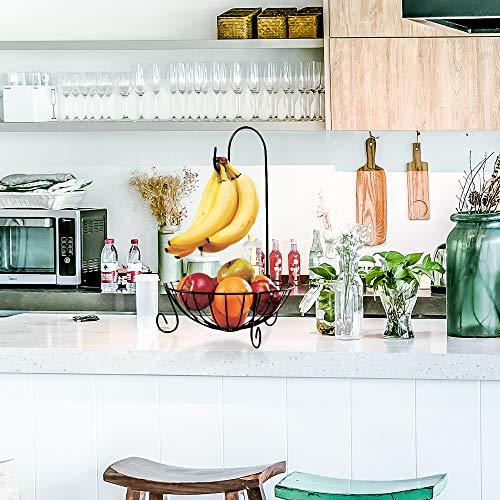 Wankd fruitmand, fruitmand met bananenhaak van metaal - moderne fruitschaal met bananenhouder voor het werkblad - praktische fruitmand voor groenten en fruit