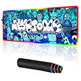 RGB Gaming Mouse pad Large Anime Graffiti Non-Slip Rubber Base Mice Keyboard Mat (Blue)