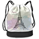OKIJH Sac à dos Sac à dos de loisirs Sac à cordon Sac à dos multifonctionnel Sac de sport Gym Drawstring Bag France Hand Drawn Romantic Eiffel Tower Gym Drawstring Bags Backpack Sports String Bundle B