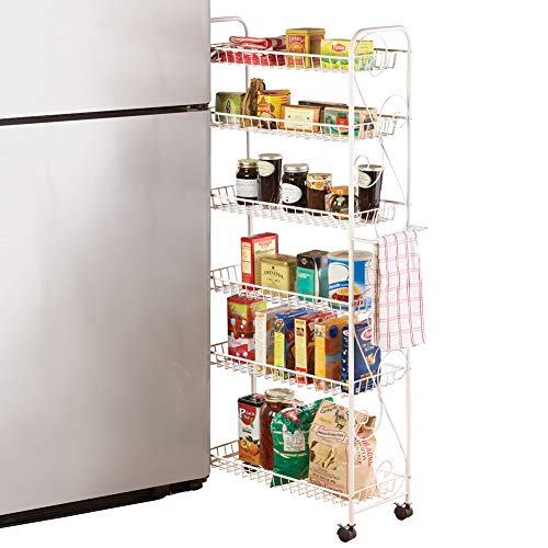 Slim Rolling Pantry 6-Tier Shelf, White Metal with Elegant Scroll Design Accent - Extra Kitchen and Bathroom Storage, 10'