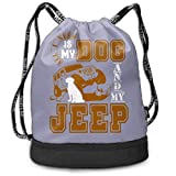 ewtretr Sacs à Cordon,Sac à Dos All I Need is My Dog and My Jeep 1 Drawstring Backpack Compartment...