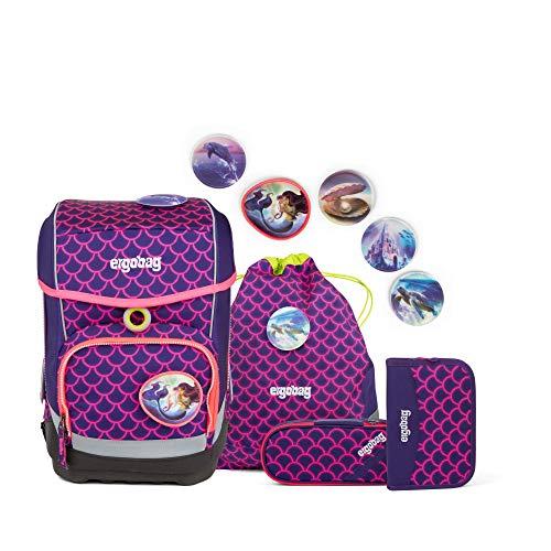 Ergobag cubo PerlentauchBär, ergonomischer Schulrucksack, Set 5-teilig, 19 Liter, 1.100 g, pink