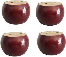 4 stks 50 mm Hoogte Houten Meubelpoten, Ronde Broodje Vervanging Meubelvoeten Sofa Leg (rood)