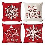 Lifreer - Juego de 4 fundas de cojín de Navidad, diseño de copo de nieve, para sala de estar, decoración de sofá, decoración de sofá, 45,7 x 45,7 cm