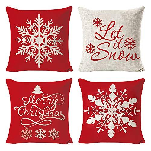 Lifreer - Set di 4 federe copricuscino dal design natalizio, in lino, con motivo fiocco di neve, idea regalo per Natale, per soggiorno, ufficio, divano, 45 x 45 cm