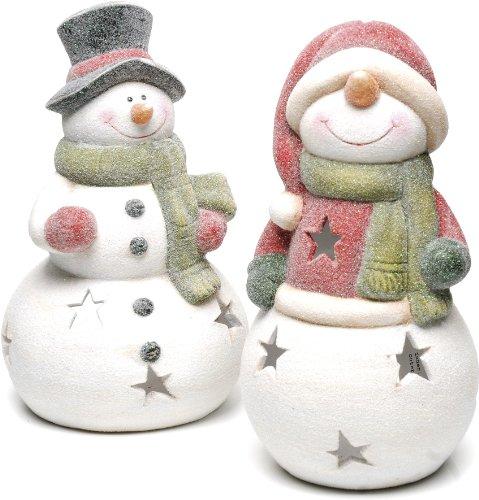 Festive Productions Kandelaar voor theelichtje van keramiek in sneeuwmanvorm glinsterend