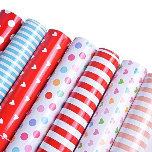 7 Hojas Papel para Envolver Regalos, 50 x 70cm Papel de Regalo Infantil, Colorido Puntos Corazón Rayas Gift Wrapping Paper para Cumpleaños San Valentín Fiesta Boda Navidad Regalos Envoltura