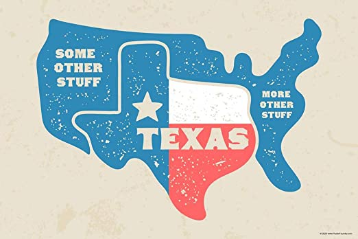 Funny Map Of Texas Amazon.com: Texas and Some Other Stuff Funny Map Lone Star State