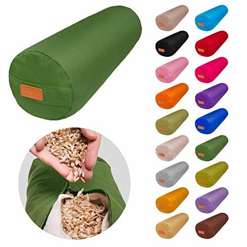 Bolster per yoga rotondo con pula di farro biologico /Lung: 68 cm ca, diametro: 22 cm ca./ideale come cuscino da yoga/cuscino zafu/cuscino da meditazione–lavabile in lavatrice, prodotto naturale.