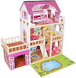 Dodo Toys Großes Holzhaus für Puppen 90 x 30 x 90 cm, 3 Etagen mit Terrasse, Garage, Pool- &...