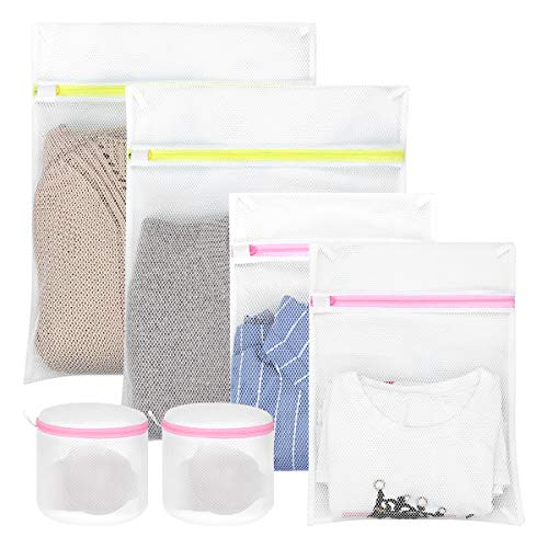 Hivool Mesh Waszak Set van 6 (2L&2M&2 BH Waszakken) Mesh Laundry Bags Wasmachine Speciale Anti-vervorming Anti-haak Herbruikbare Duurzame Waszak voor Delicate Blouse, Zijde, Babykleding.