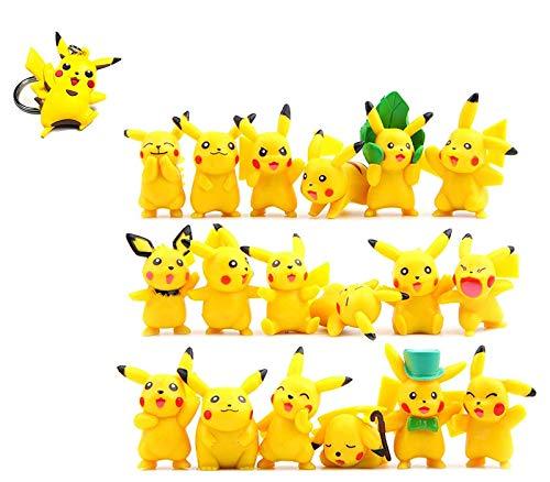 Hyde Pokémon Pearl MiniFiguren Set 19 Stück, 18 Stück Pikachu Mini Action Figuren und 1 Stück 3D Pikachu Schlüsselanhänger für Kinder und Erwachsene