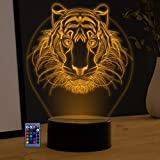 3D Lion Night Light Lamp USB Powered Touch Switch Remote Control LED Decor Optical Illusion 3D Lamp 7/16 Colors Changing Brithday Children Kids Toy Xmas Gift