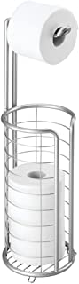 mDesign Modern Metal Freestanding Toilet Paper Roll Holder Stand and Dispenser with Storage for 3 Rolls of Reserve Toilet ...