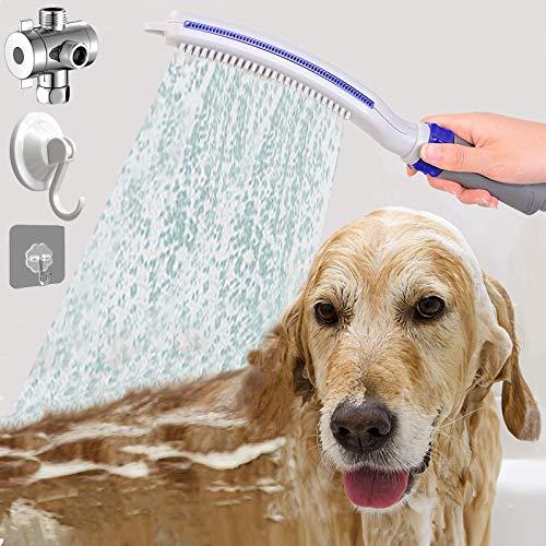 serimer Dog Shower Sprayer Attachment Dog Shower Brush Woof Washer Dog Shower Head Flow Control for Pet Home Cleaning Bath Grey/Blue