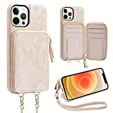 ZVEdeng Wallet Case for iPhone 12 Pro Max, Zipper Wallet Card Holder Case with Crossbody Chain Wrist Strap Leather Handbag for Women Protective Case for iPhone 12 Pro Max 6.7'' Lizard Skin Apricot