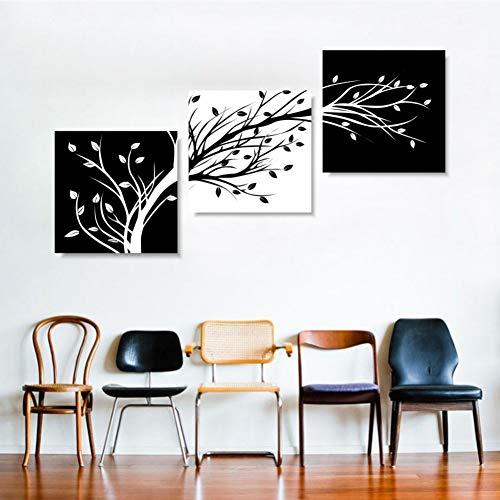 KDSFHLL 3 dekorative Gemälde Wandkunst Leinwand Poster Hd Drucke Bilder 3 Stücke Schwarz Weiß Baum Blume Gemälde Wohnkultur Für Wohnzimmer