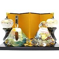 ガラスのお雛様 glass calico グラスキャリコ 華雛 雪洞(ぼんぼり)付き ハンドメイド ガラスアート 雛人形 ひな人形 おひなさま 桃の節句 オブジェ コンパクト