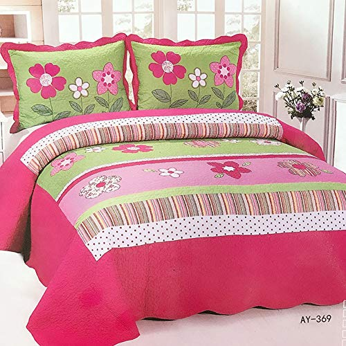 YADLCR Quilted Patchwork Bedspread 100% Cotton 3 Piece King Size Retro Chic Floral Double Bed Spread Coverlets with 2 Pillowcases (Color : A08, Size : 225x245cm)
