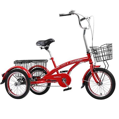 Triciclo Adulto 16 pulgadas de triciclos adultos 3 rueda bicicleta, tres ruedas bicicleta crucero pedal de ciclismo triciclo con cesta de compras, bicicletas trikes mujeres hombres mayores for ir de c