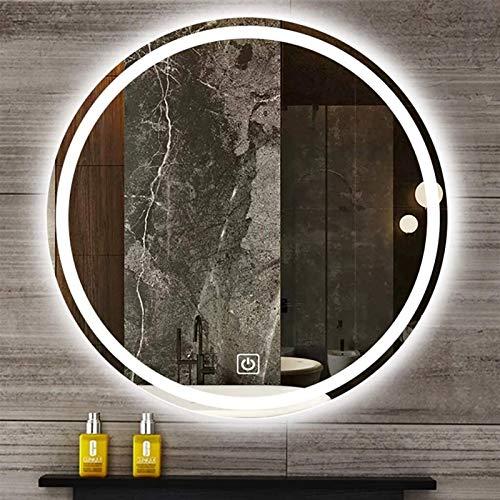 Espejo LED Deluxe - Espejo de tocador de baño, LED iluminado Luz Demistal / Afogging Maquillaje Espejo de pared, Espejo de baño con retroiluminación LED, Espejo redondo de tocador iluminoso, Borde con