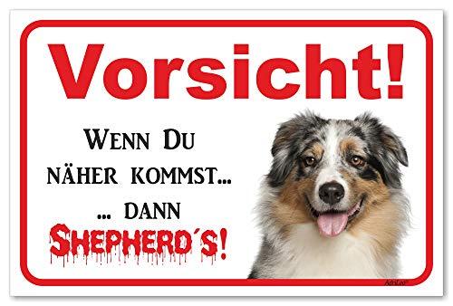 AdriLeo Schild - Achtung Australian Shepherd Blue-Merle - Vorsicht sonst Shepherd´s - (15x20cm) / Aussie Hund Wachhund