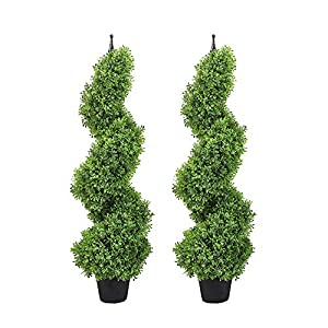 momoplant Artificial Boxwood Plant Topiary Tree 35inch Fake Feaux Spiral Plants Green Outdoor Indoor Home Office Porch, Set of 2 (3ft)