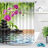 LB Spa Frühling Duschvorhang Bambus Orchidee Schwarz Stein Bad Vorhang 150x180cm Wasserdicht Polyester Stoff Wohnaccessoires Set mit Haken