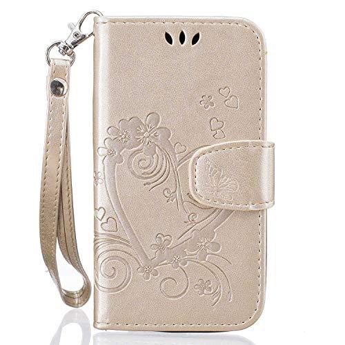 Samsung Galaxy J1 2016 Hülle,THRION PU Herz Blume Brieftaschenetui mit magnetischer Handschlaufe und Ständerhalterung für Samsung Galaxy J1 2016, Gold