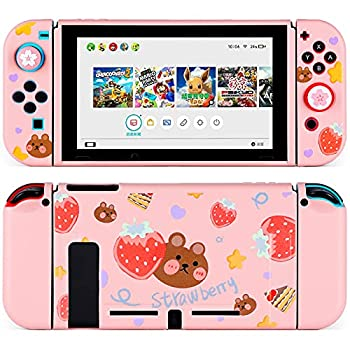 Tscope Protective Case for Nintendo Switch Cute Soft TPU Slim Case Cover for NS Console and Joy-Con Controllers with Tempered Glass Screen and 2 Thumb Grips Caps  Strawberry Bear Pink