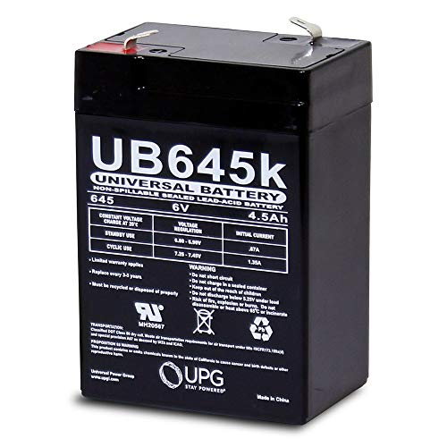 Universal Power Group UPG UVUB645F1 6V / 4.5Ah Sealed Lead Acid Battery with F1-.187in Terminals
