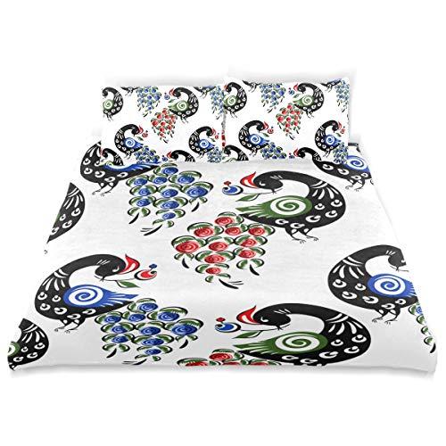 YOLIKA Bettwäsche-Set, Mikrofaser,Russische Trachtenmode der nahtlosen Muster-Vögel,1 Bettbezug 200 x 200cm + 2 Kopfkissenbezug 80x80cm