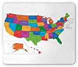 Ambesonne Wanderlust Mouse Pad, Colorful USA Map with States and Capital Cities Washington Florida Indiana Print, Rectangle Non-Slip Rubber Mousepad, Standard Size, Green White