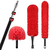 HIWARE Cobweb Duster, Microfiber Feather Duster and Ceiling Fan Duster Cleaner Brush Kit with Extension Pole 12 Feet(20 Feet High Reach), 3-Stage Aluminum Telescopic Extension Pole