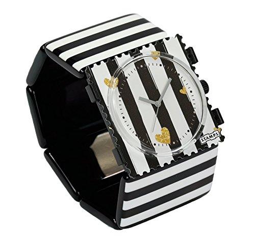 S.T.A.M.P.S. Stamps Uhr KOMPLETT - Zifferblatt Golden Love auf Belta Stripes Black White