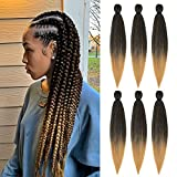 Braiding Hair Pre Stretched 22 Inch Ombre Box Braids Crochet Hair Hot Water Setting 6 Packs Yaki Texture Hair Extensions(1B/27)