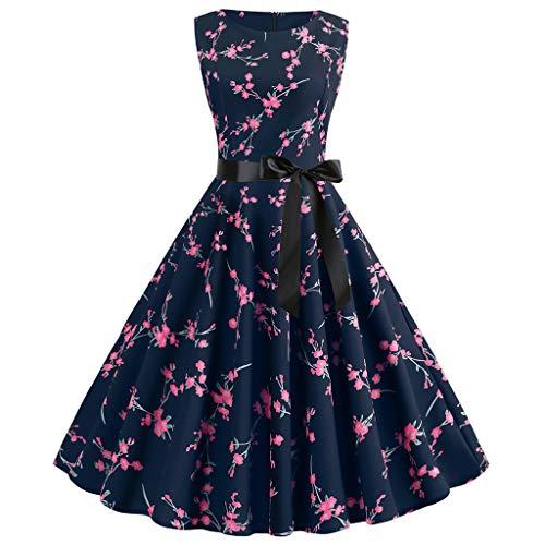 MERICAL Vestido para Mujer Vintage de los años 50 🍒 Retro Sin Mangas🌹 Estampado en el Cuello Fiesta de Noche Baile de graduación(Rosa Caliente,XX-Large)