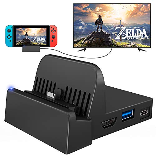 UKor Nintendo Switch TV Dock, Portable Mini Switch TV Docking Station Charging Stand Replacement for Nintendo Switch Dock Set, Compact Switch to HDMI with Extra USB 3.0 Port (Upgraded Version)
