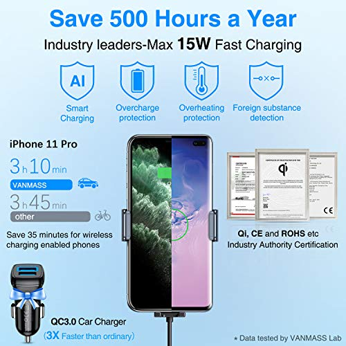 Fast Charger Infrared Sensor Car Phone Holder,Automatic Clamping CD Slot Wireless Charger for iPhone X//XR//Xs Max//11//11 Pro//11 Pro Max//Samsung Galaxy 15W Wireless Car Charger CD Slot Car Phone Mount