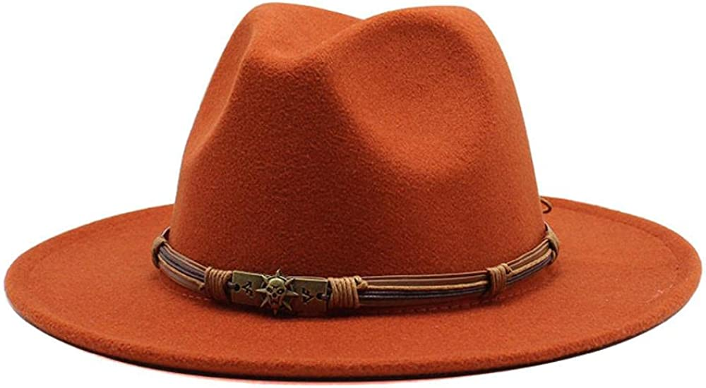 Women's and Men's Classic Wide Brim Panama Fedora Hat Wool Jazz Hat Daily Travel Cowboy Hats with Decoration