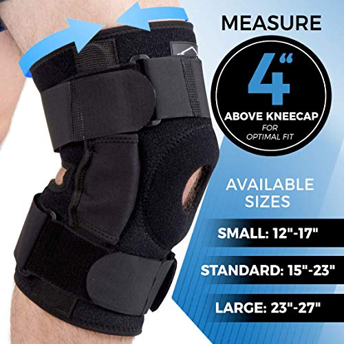Dynamic Gear Open Patella Stabilizing Knee Brace, Dual Aluminum Stability Hinges, Padded Neoprene Adjustable Compression Support Brace for Meniscus Tear, ACL, Strains, Knee Pain, Arthritis (Large)