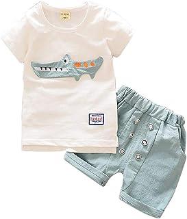 1e1bb292e74f0d Bambino Ragazzi Camicia Stampa Elefante T-Shirt Pantaloncini Lino Set