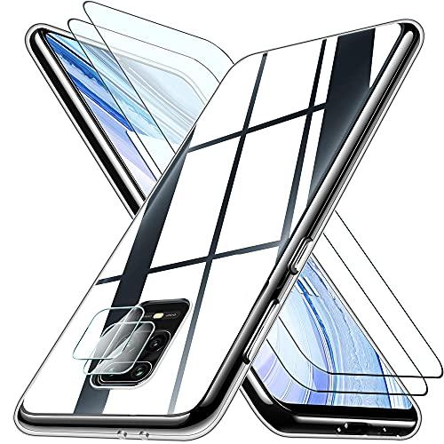 Pengkun 5 in 1 Cover per Xiaomi Redmi Note 9S con 2 Vetro Temperato 2 Protezione per la Fotocamera, Custodia Protettiva in Silicone Morbido Trasparente